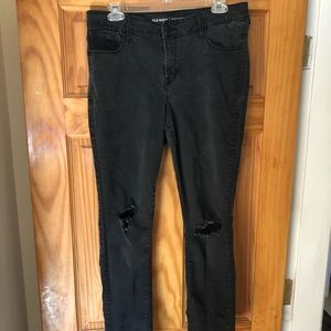 Old navy black ripped jeans. Rockstar mid-rise 12